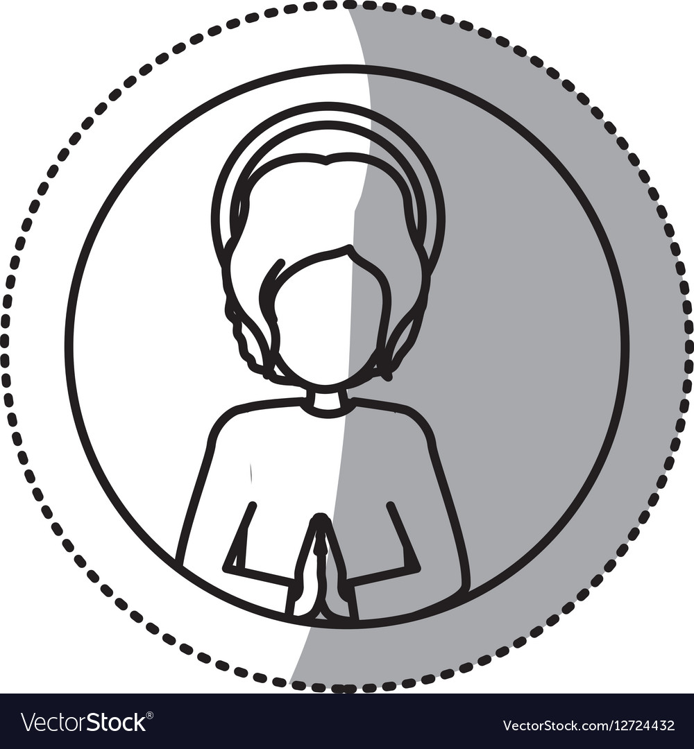 Circular sticker silhouette half body baby jesus