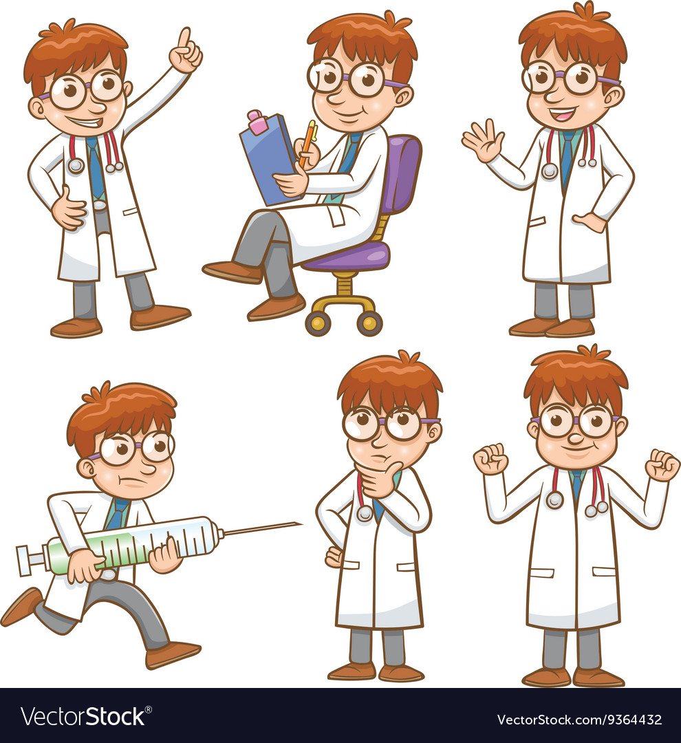 Doctor cartoon character set