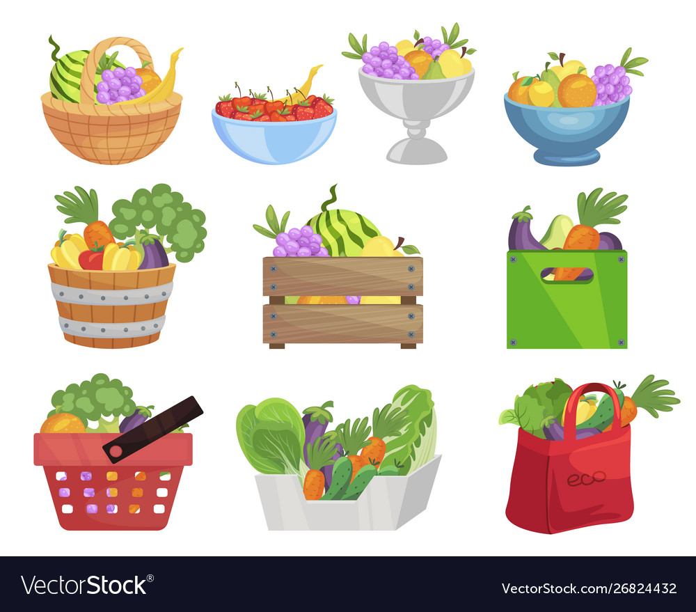Fruits and vegetables in containers flat