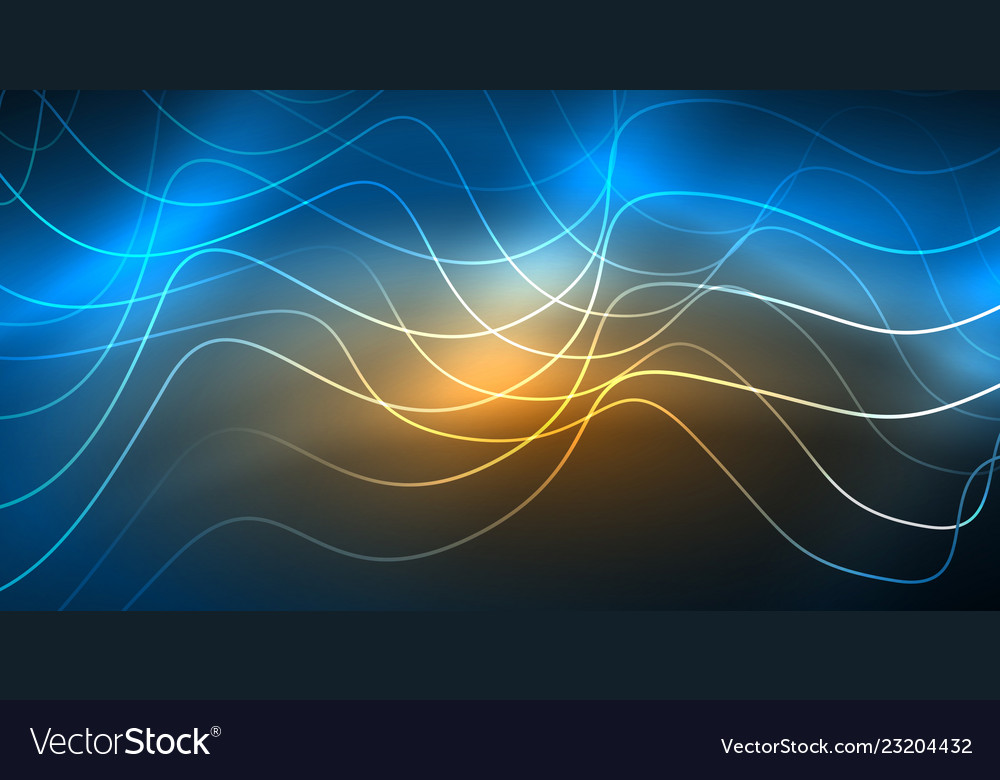 Glowing abstract wave on dark shiny motion