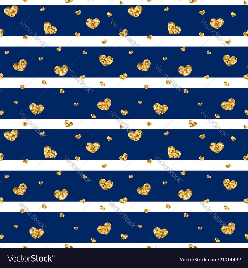 Gold heart seamless pattern blue-white geometric