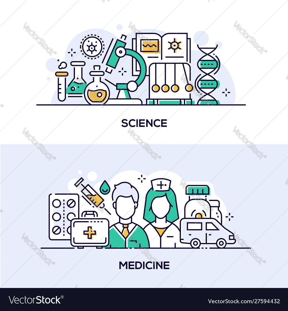 Modern science and medicine banner templates set
