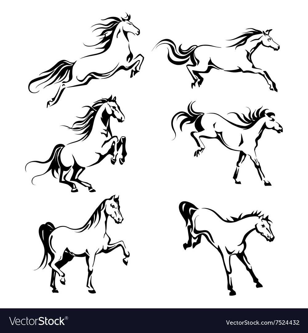 Set With Hand Drawing Graphic A Running Horses Vector Image