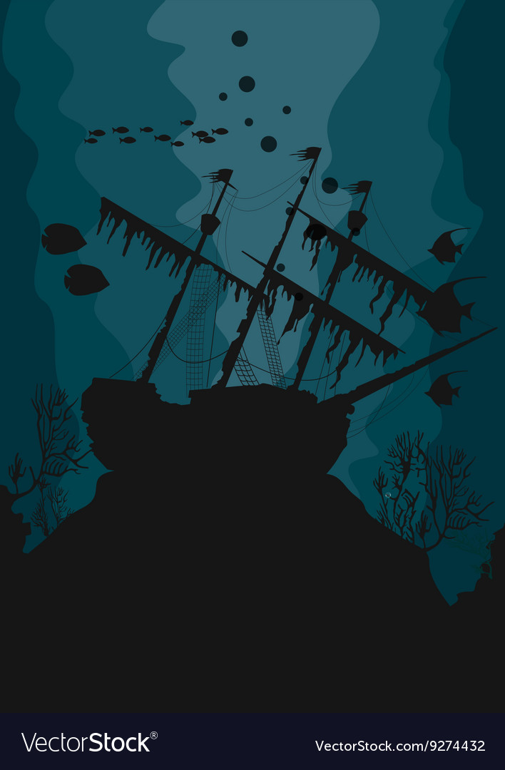 silhouette of a ghost ship underwater royalty free vector