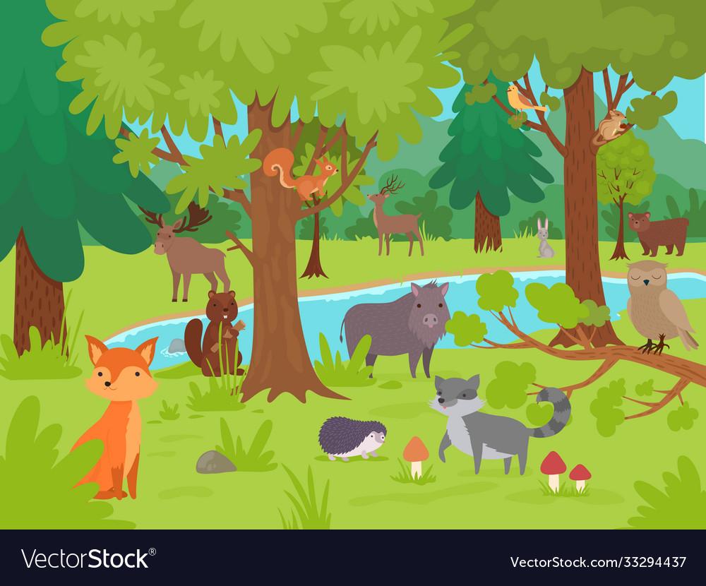 Animals in forest background wild cute happy