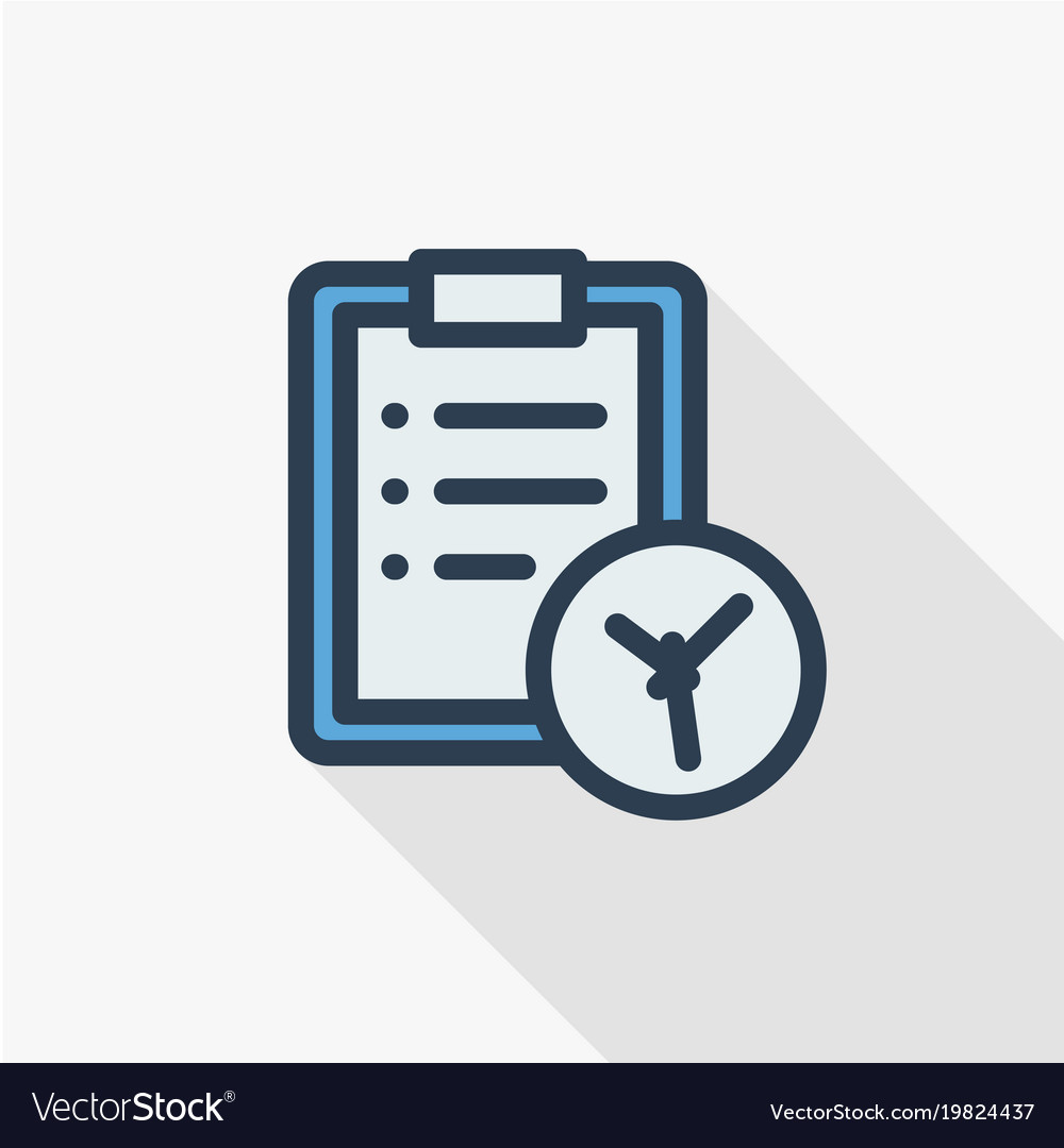 Clipboard and clock to-do list thin line flat