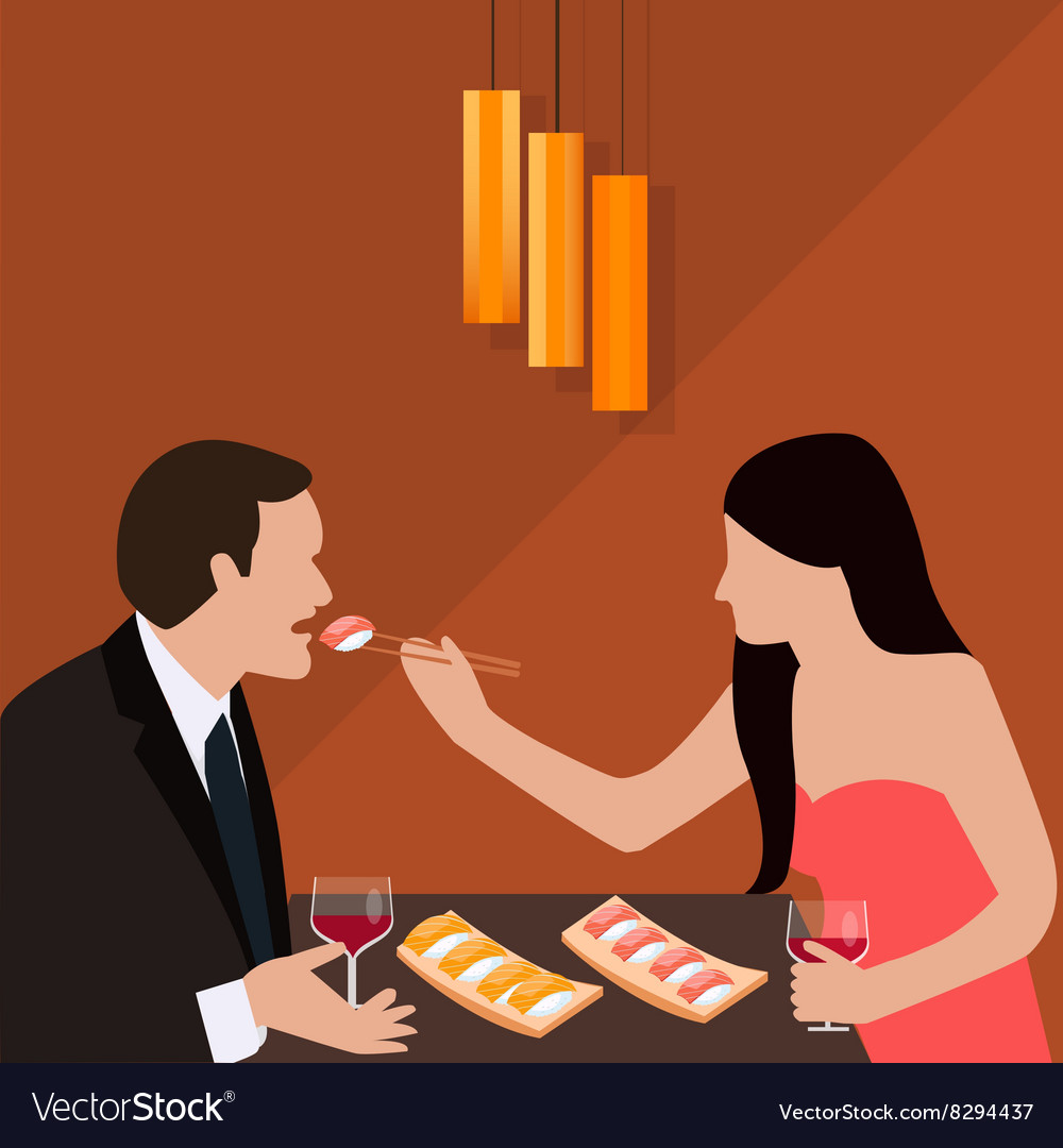 Couple dinner woman give food for man romantic