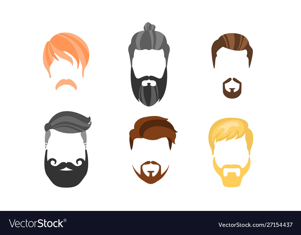 Different male hairstyles beards and mustaches