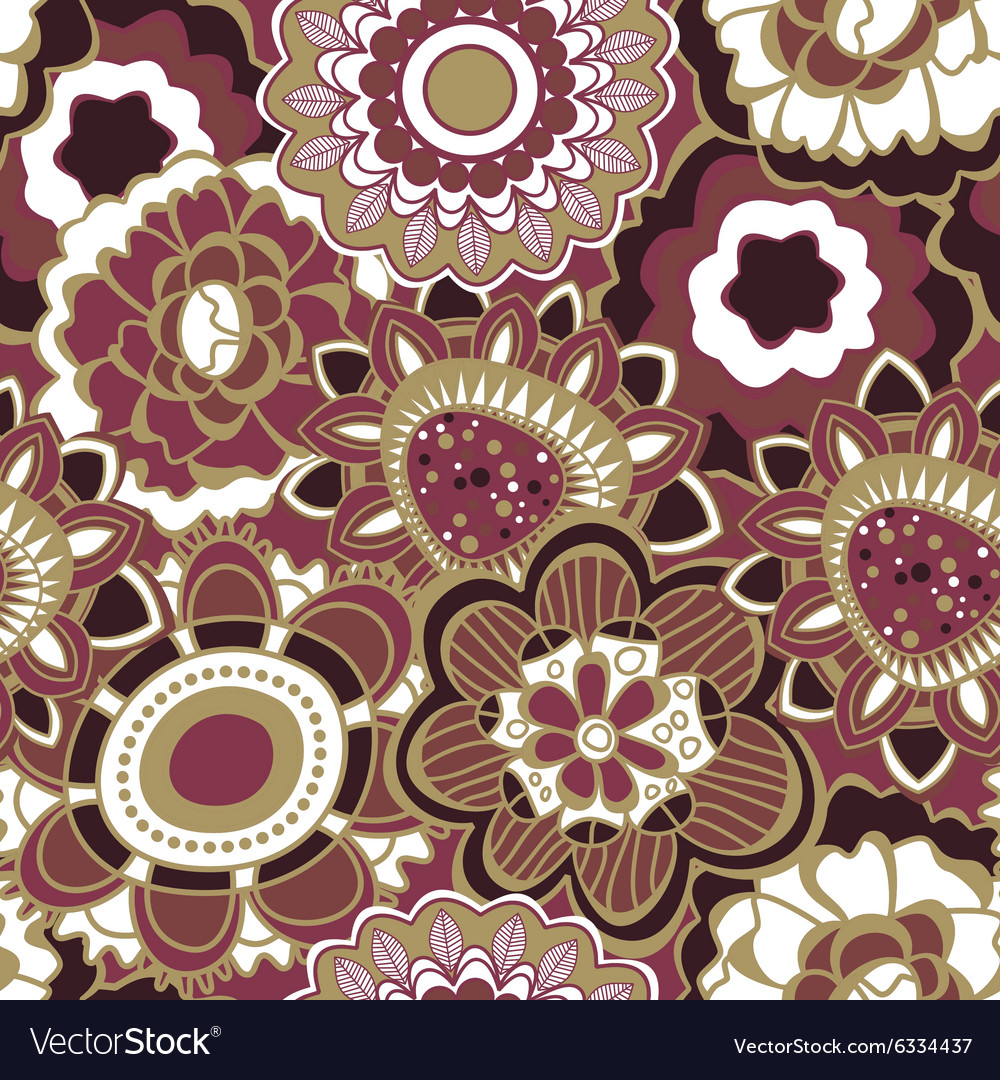 Floral seamless pattern in trendy marsala colors vector image