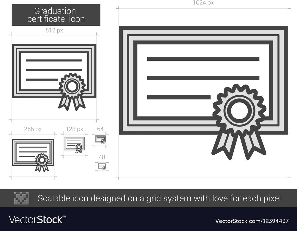 Graduation certificate line icon vector image