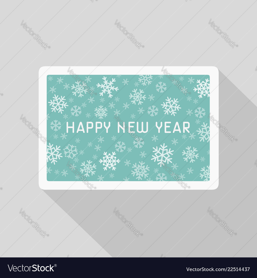 Greeting new year card with snowflakes pattern