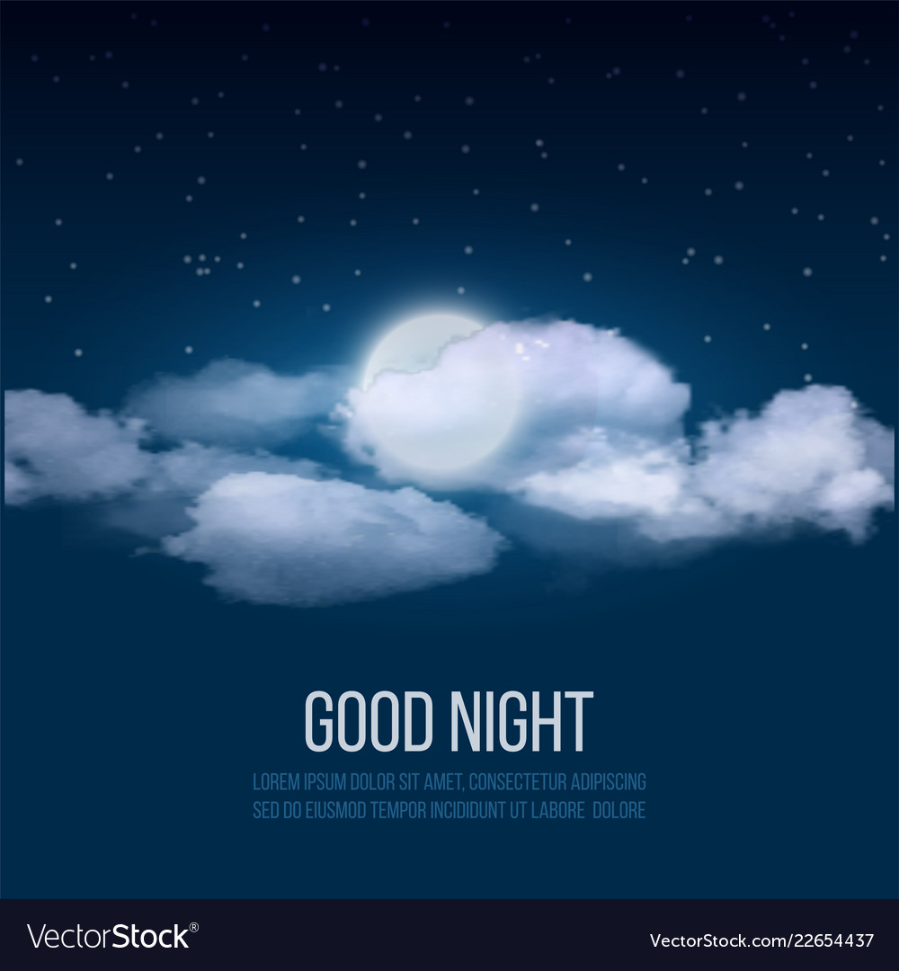 Night sky background cloudy sky with moon