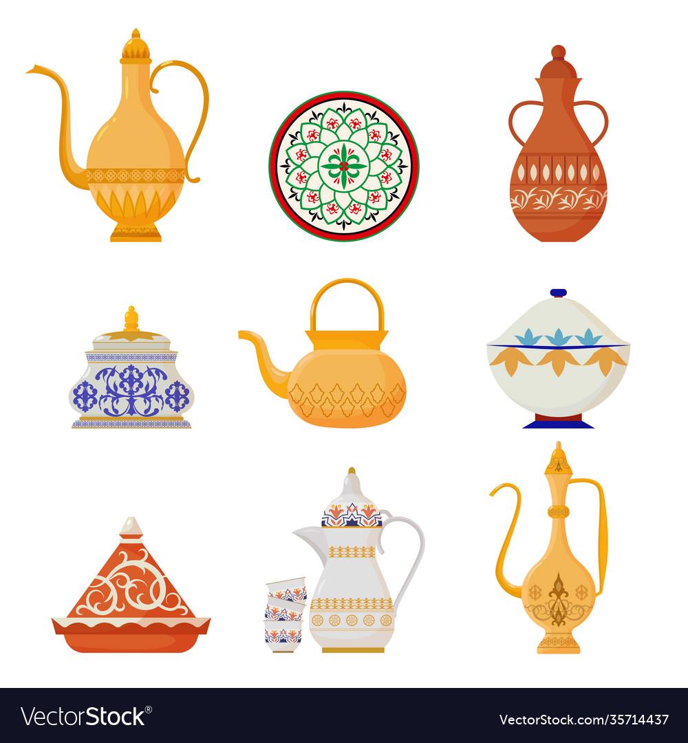 Oriental crockery with arabic script set syrian