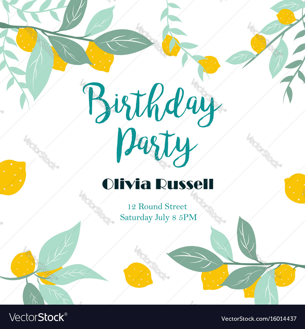 Party or birthday invitation template with lemons Vector Image