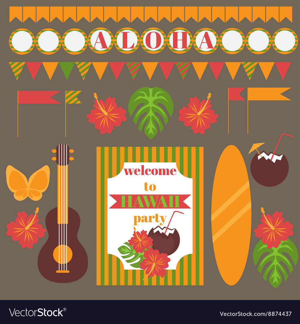Printable set of hawaii party elements Templates