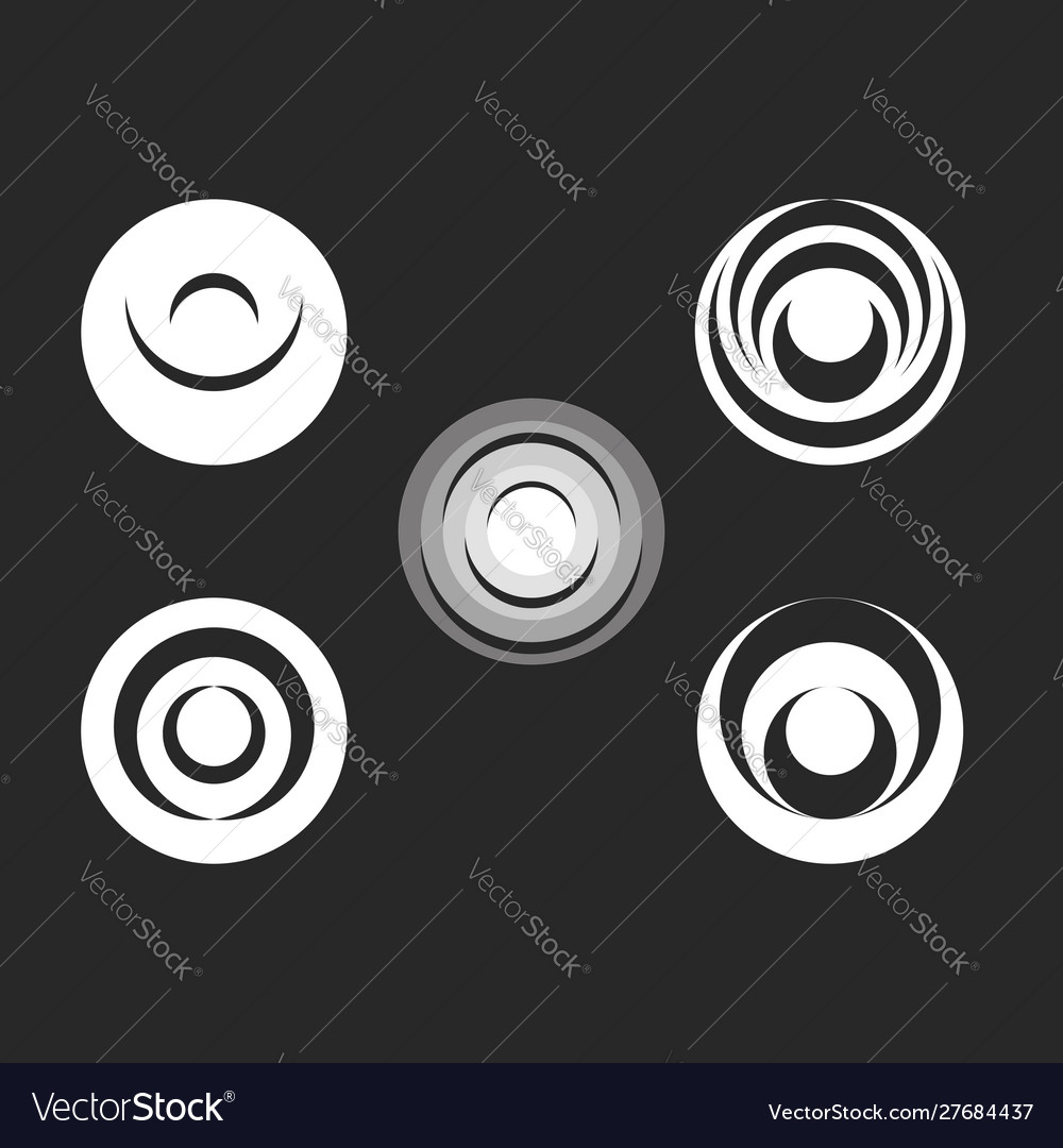Round logo black and white radial ripples on the