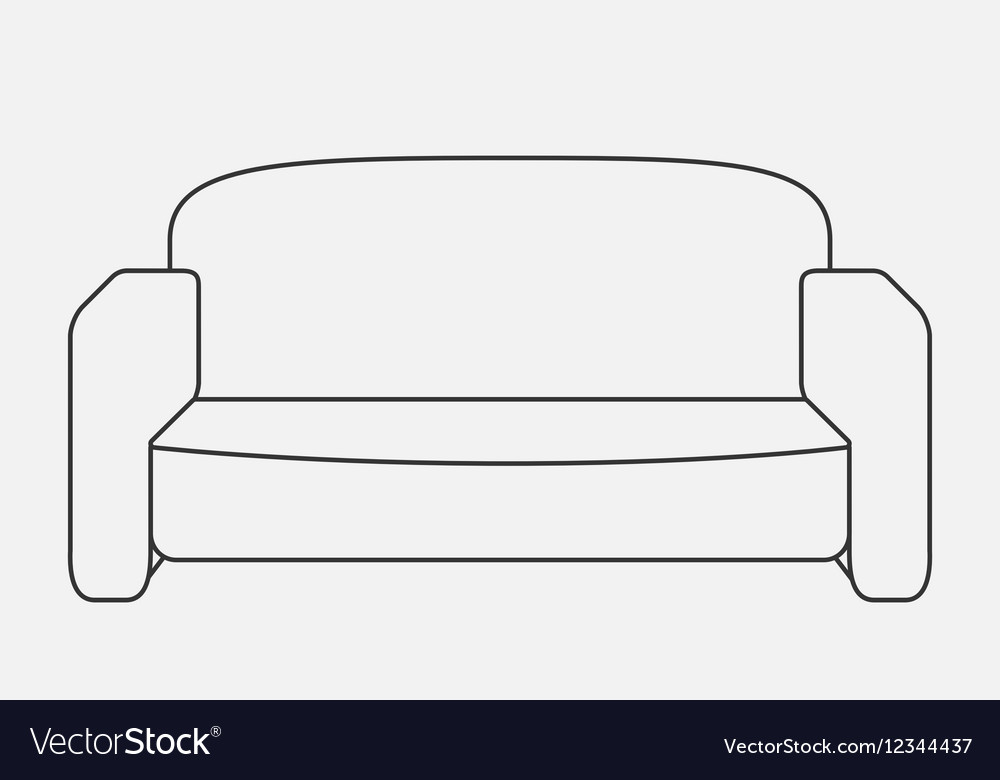 Schematically sofa Modern Flat style Royalty Free Vector on