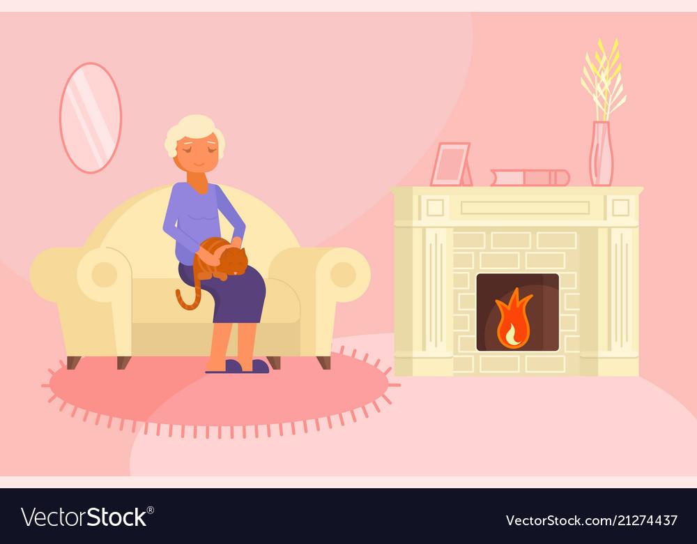 Senior woman with cat flat