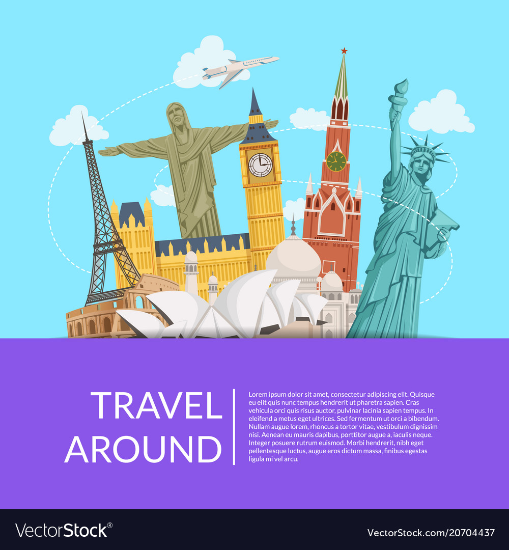 World sights background with place for text
