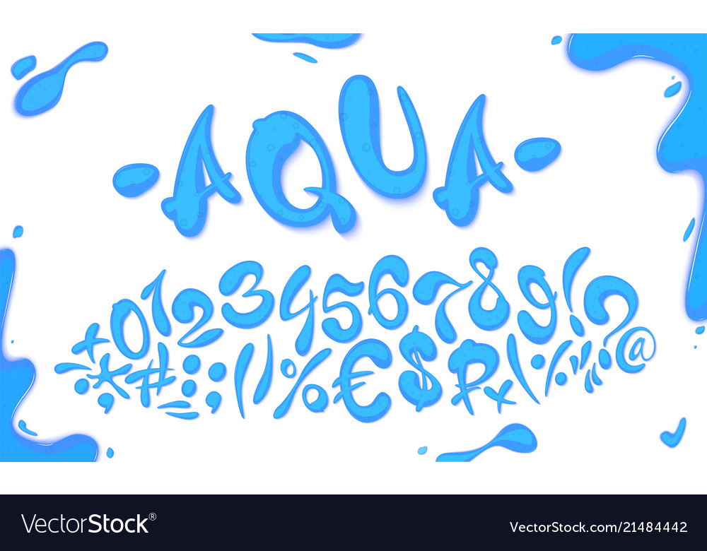 Aqua hand drawn signs and numbers