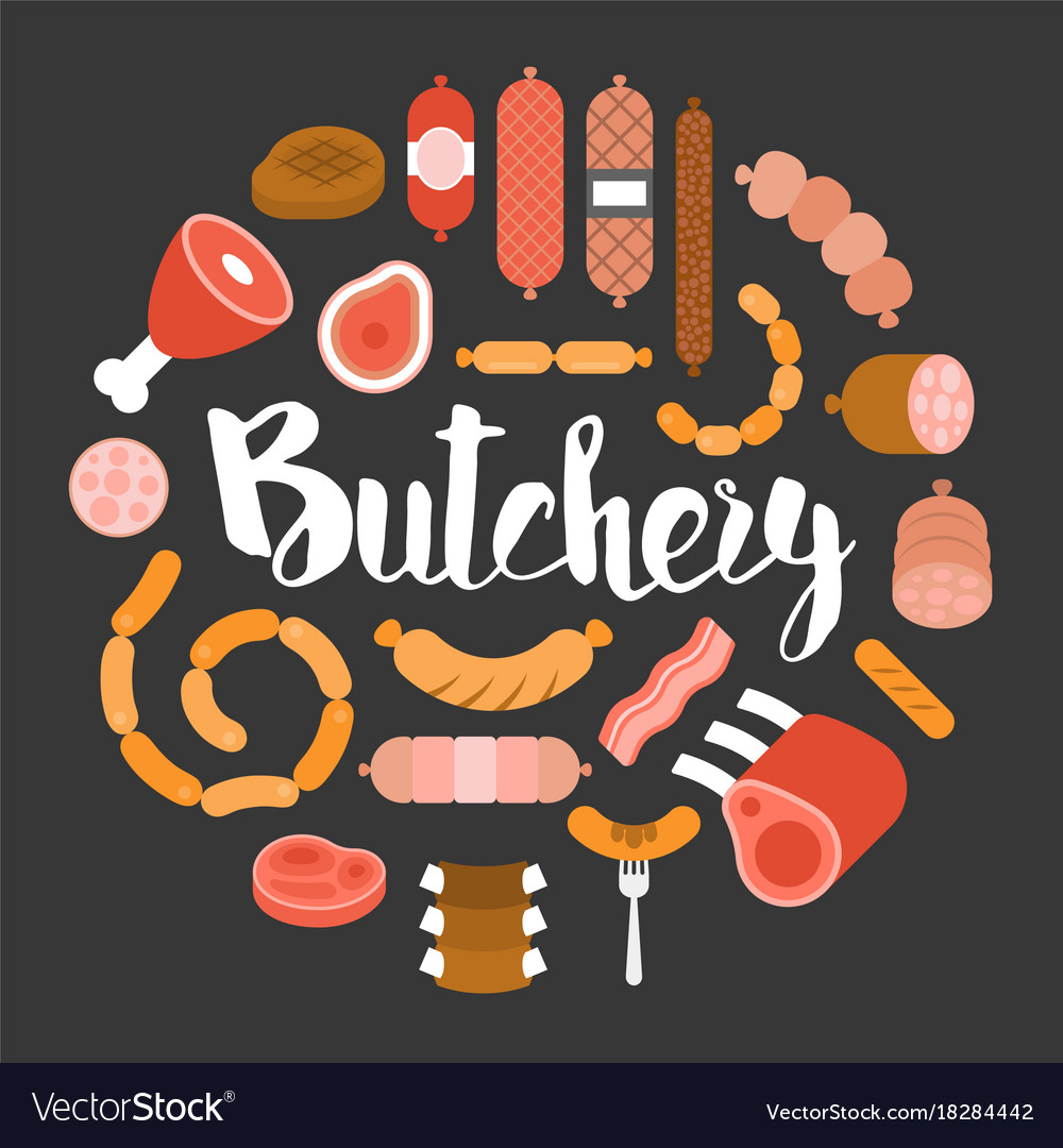 Butchery product icon such as sausage