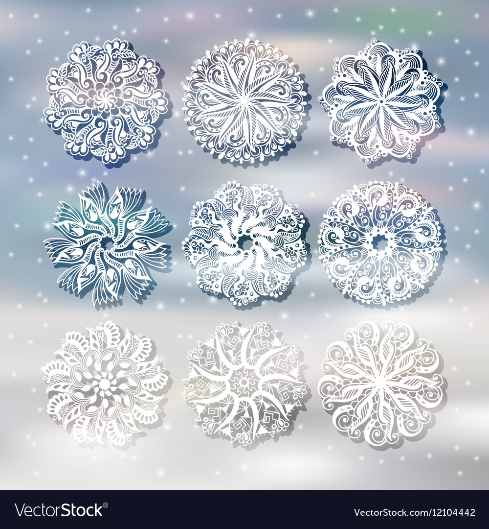 Christmas snowflake with a shadow decoration set