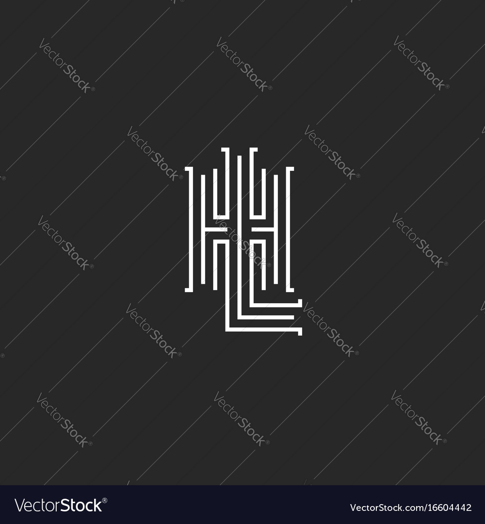 Combination letters hl logo hipster simple