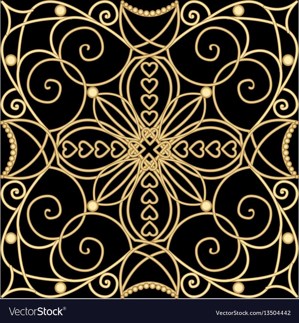 Deko Ornament.Filigree Golden Ornament Tile In Art Deco Style