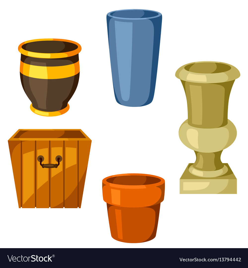 Garden pots set of various color flowerpots