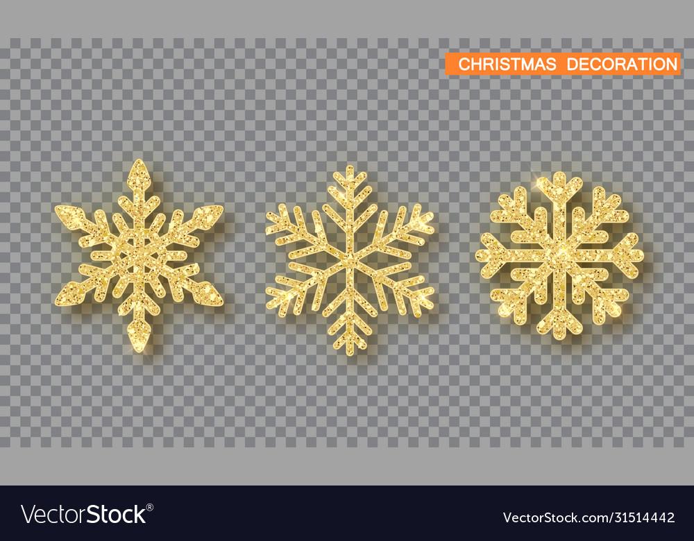 Gold christmas decoration set golden glitter
