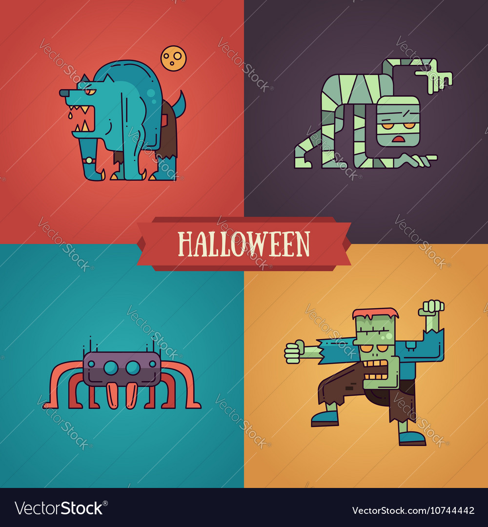 Halloween characters line flat design modern icons