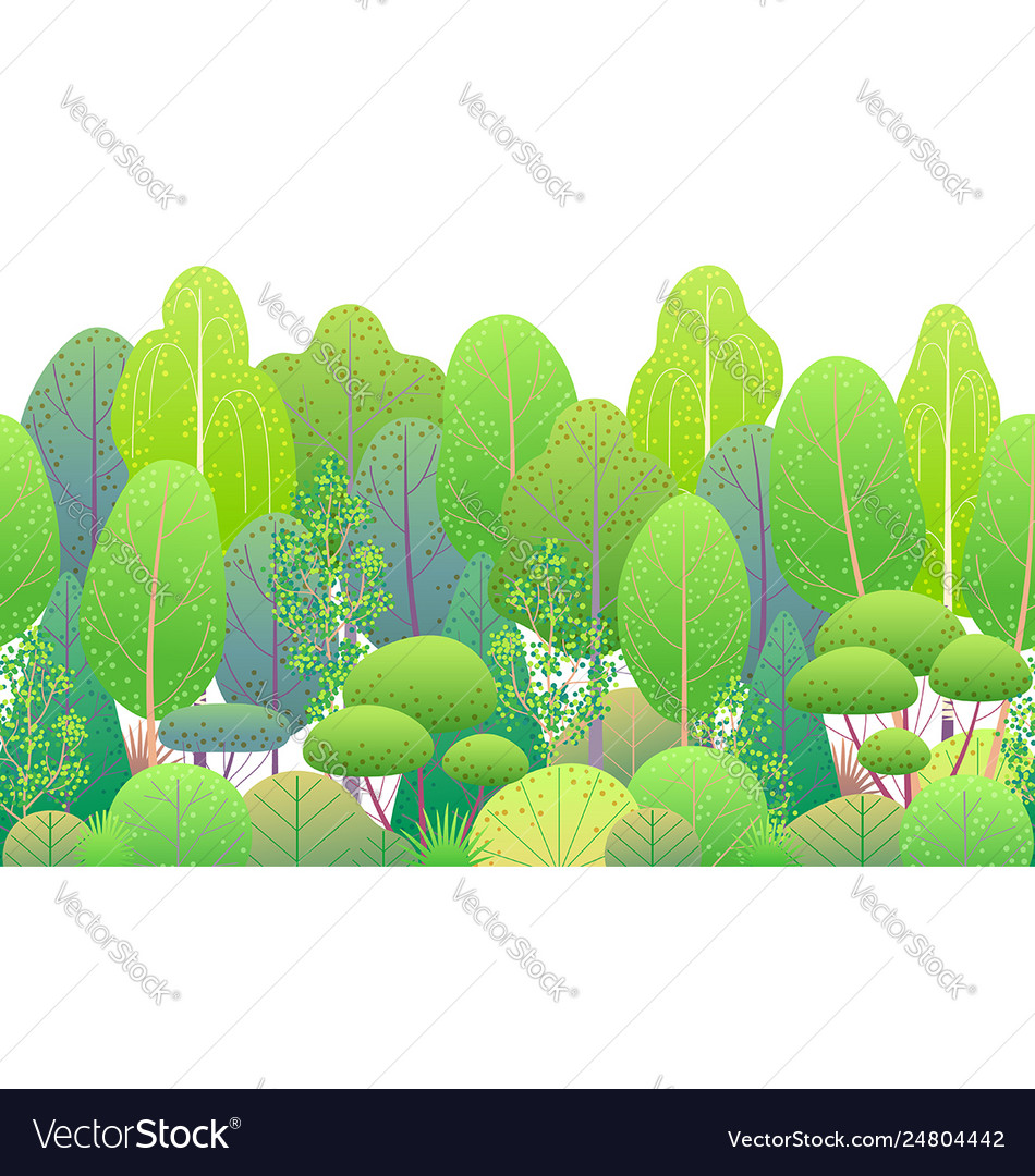 Line horizontal seamless border with green trees