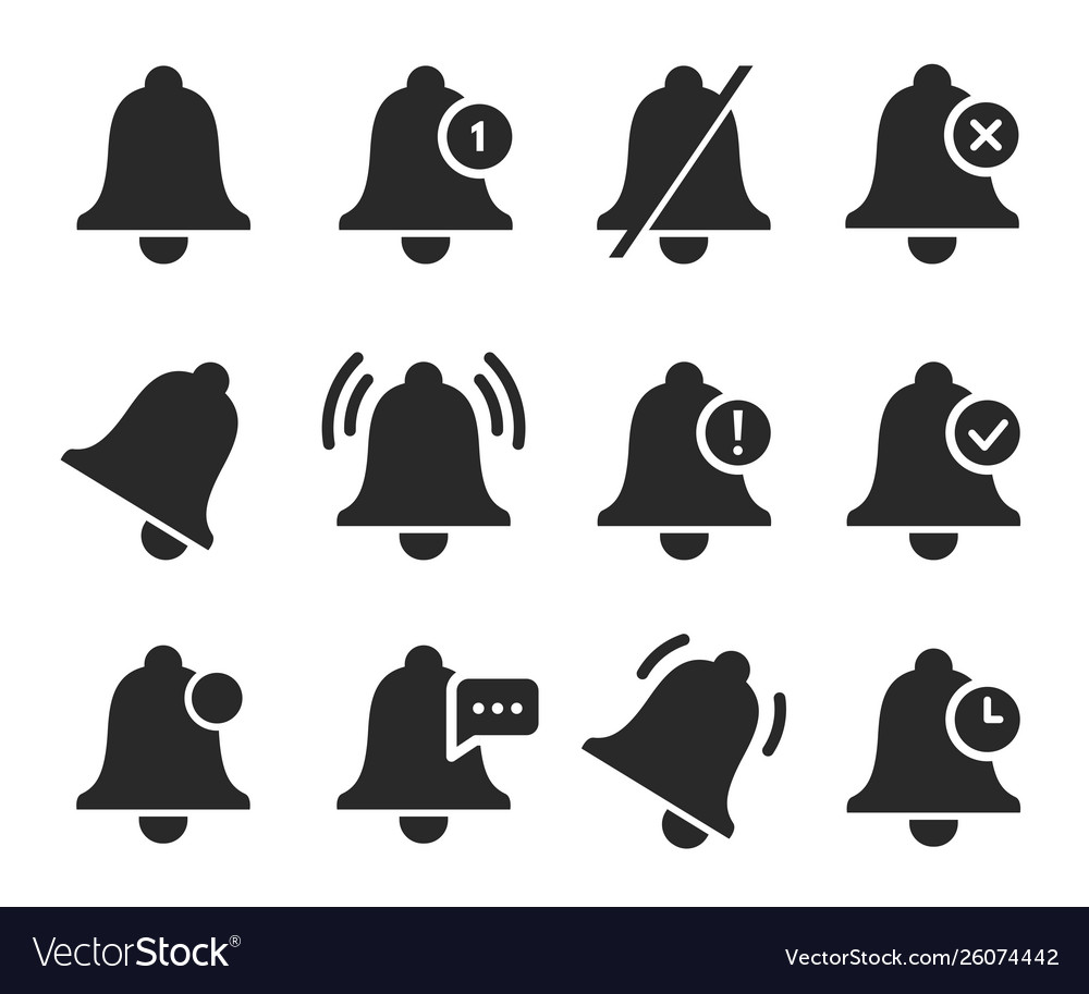 Notification bell set sound signal element design