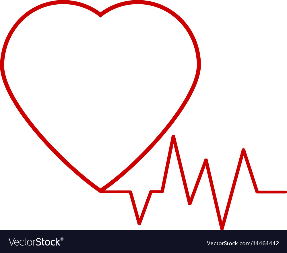Red heart icon with sign heartbeat