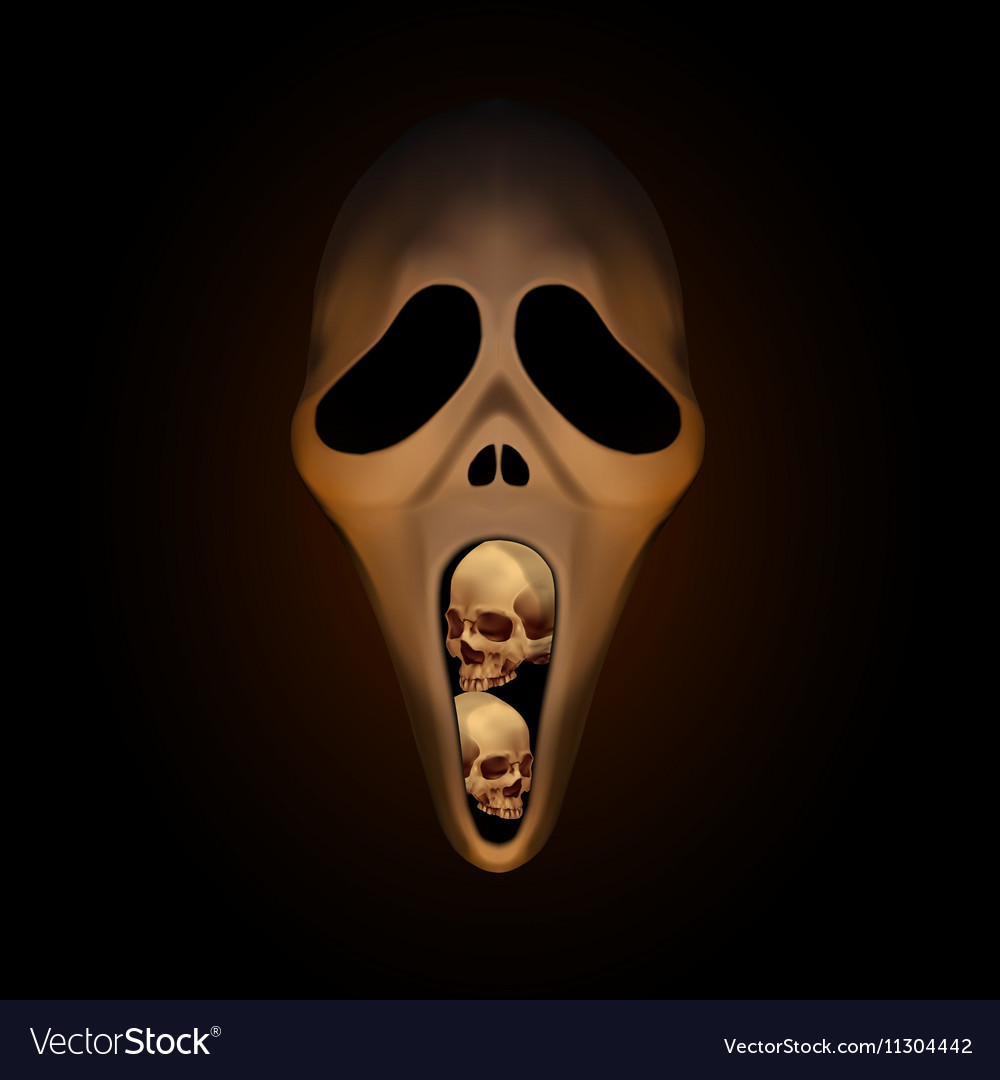 Halloween Spooky Pictures.Spooky Halloween Mask With Small Human Skull In
