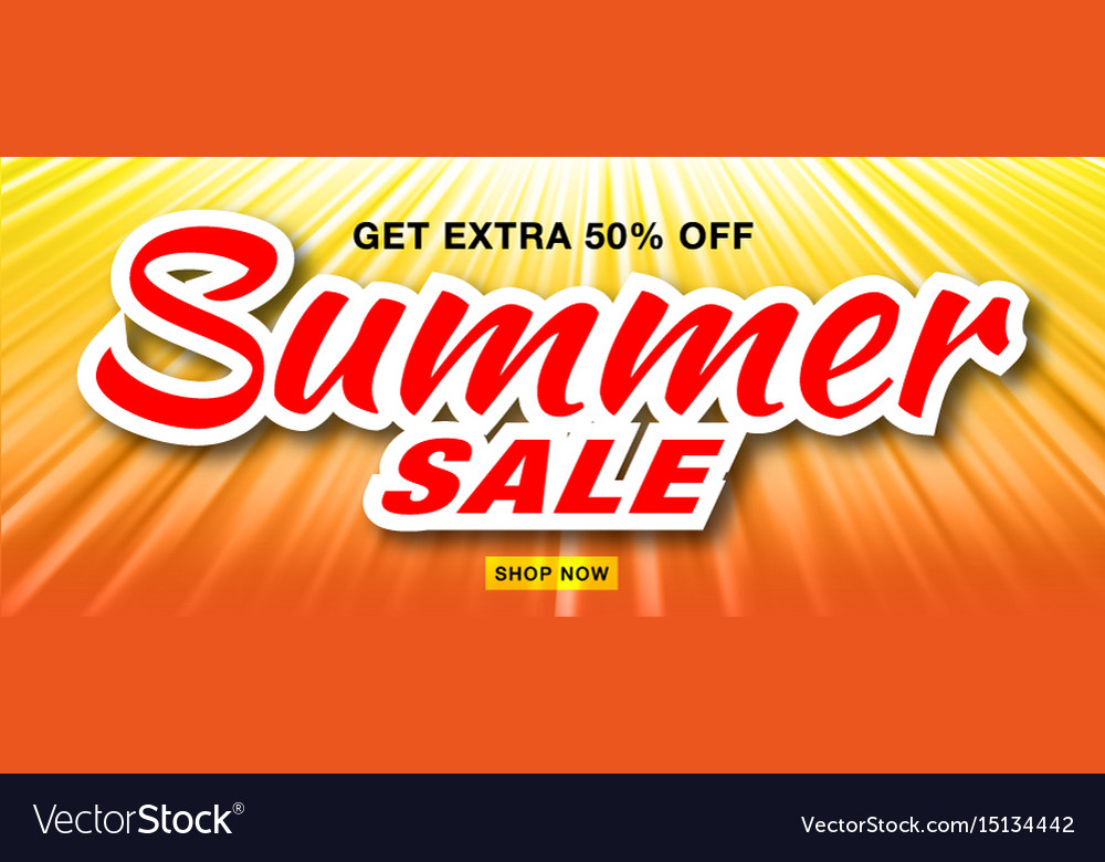 Summer sale template banner with sun rays