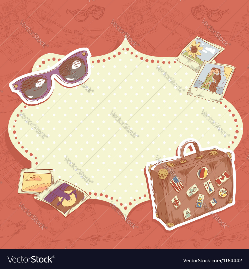 Travel postcard with suitcase