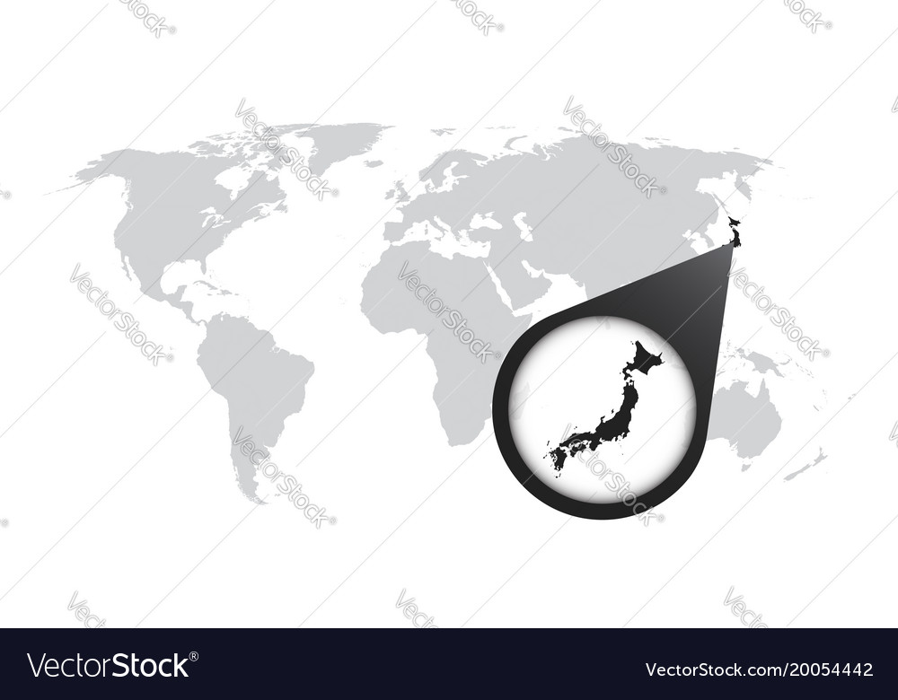 World map with zoom on japan map in loupe in flat