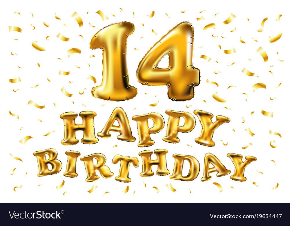 14 Years Anniversary Happy Birthday Joy Royalty Free Vector