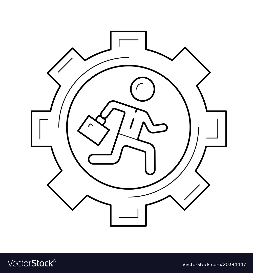 Businessman running in the gear line icon