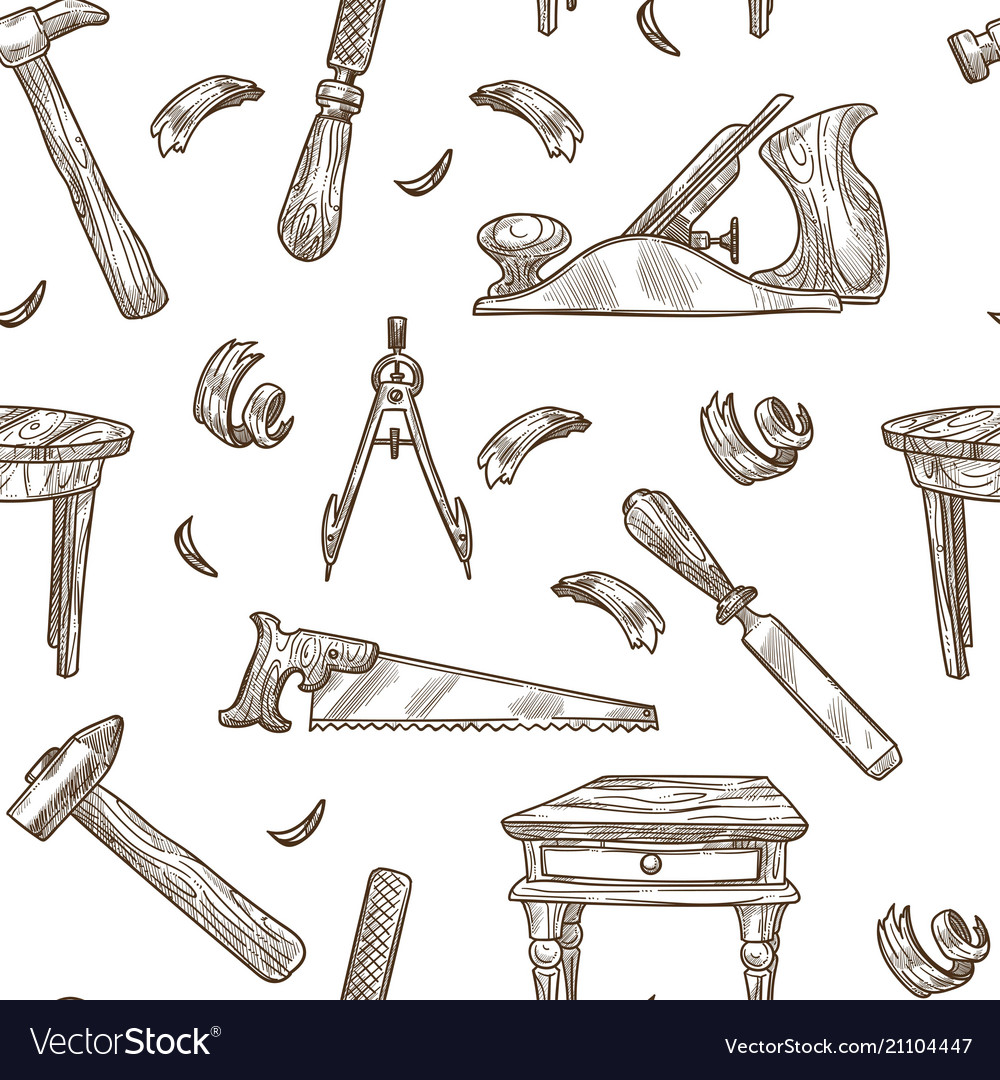 Carpentry tools pattern background