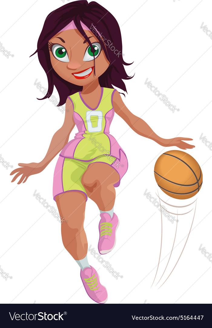Cartoon Girl Basketball Player vector image