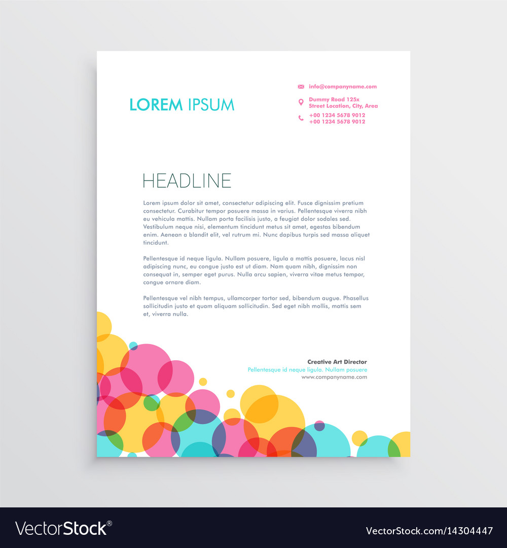 creative letterhead design template with colorful vector image