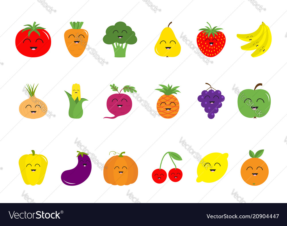 Fruit berry vegetable face icon set pear