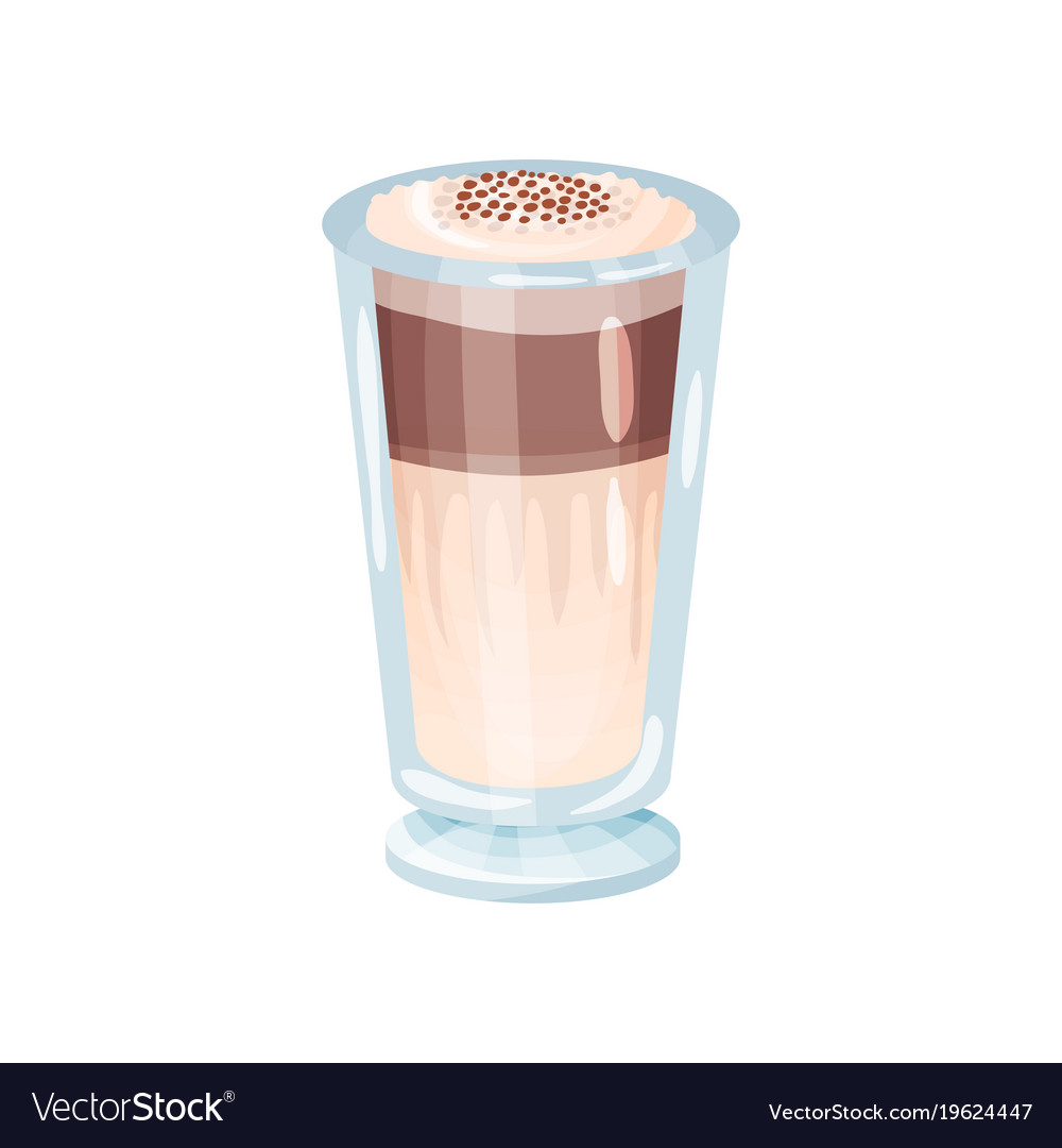 Latte Macchiato Layered Coffee Glass Cartoon Vector Image