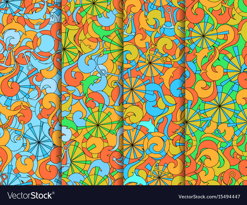Marine seamless pattern background with waves vector image