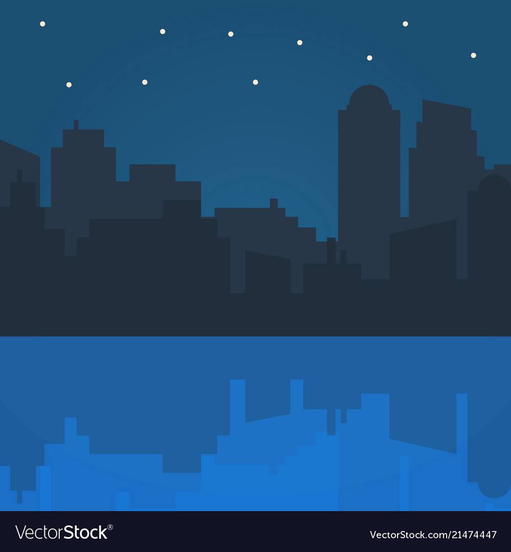 Night city in flat style design