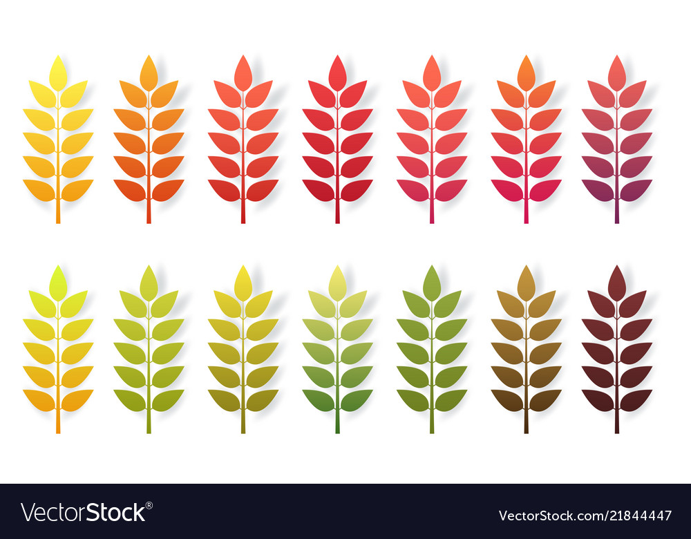 Paper cut autumn leaves set fall leaves colorful
