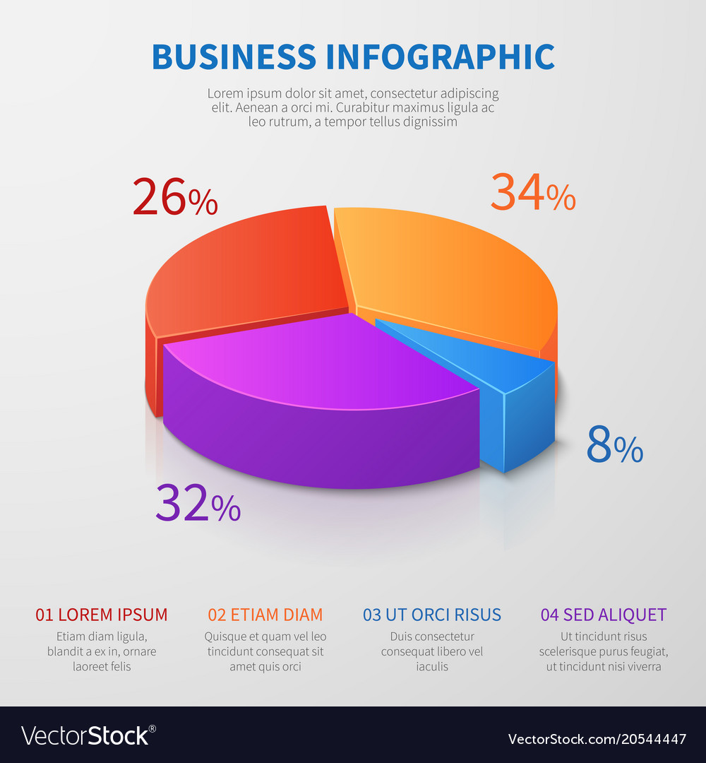 pie chart 3d graph design with percentages vector image