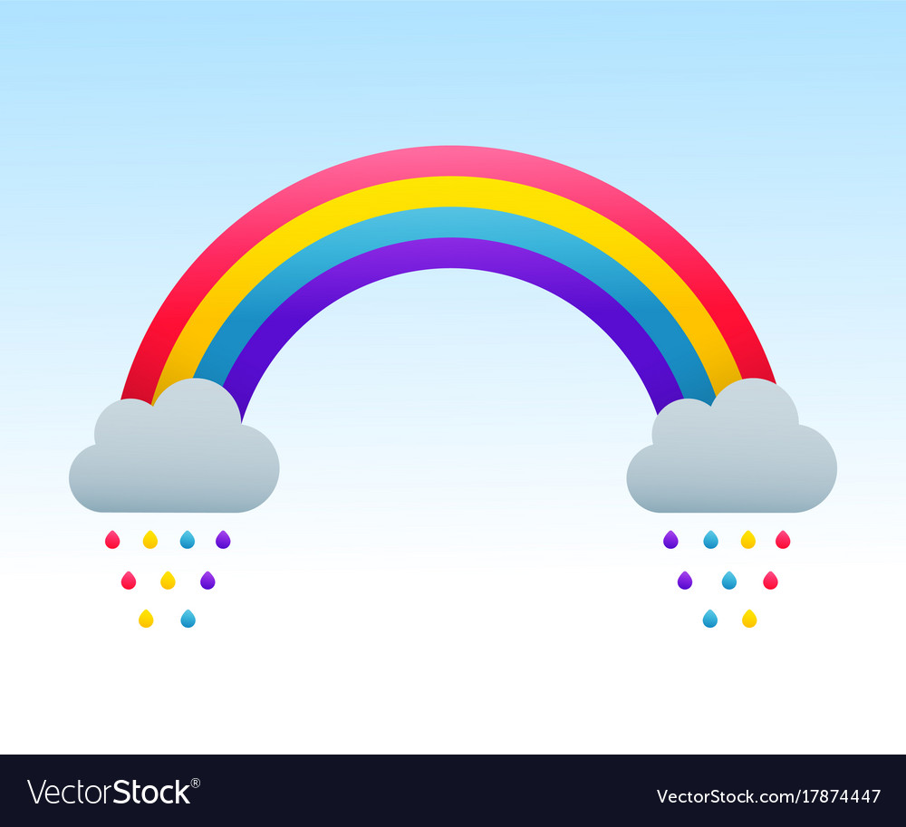 rainbow and clouds royalty free vector image vectorstock